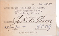 1930's Joe Carr Signed Hotel New Yorker Courtesy Credit Card from The Joe Carr Find