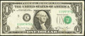 Error Notes:Shifted Third Printing, Fr. 1912-E $1 1981A Federal Reserve Note. Fine-Very Fine.. ...