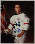 Autographs:Celebrities, Dave Scott Signed Large White Spacesuit Color Photo. ...