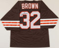Football Collectibles:Uniforms, Jim Brown Signed Cleveland Browns Jersey Display....