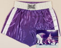 Boxing Collectibles:Autographs, Muhammad Ali and Joe Frazier Signed Boxing Trunks Display....