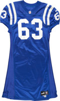Football Collectibles:Uniforms, 2000 Jeff Saturday Game Worn Indianapolis Colts Jersey....