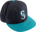 Baseball Collectibles:Hats, 1990's Ken Griffey Jr. Game Worn, Signed Seattle Mariners Cap. ...