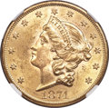 Liberty Double Eagles, 1874 $20 MS61 NGC. CAC....