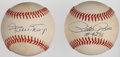 Baseball Collectibles:Balls, Pete Rose and Willie Mays Single Signed Baseballs (2)....