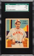 Baseball Cards:Singles (1930-1939), 1934-36 Diamond Stars Carl Hubbell #39 SGC 92 NM/MT+ 8.5 - Only OneHigher....