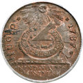 1787 FUGIO Fugio Cent, STATES UNITED, 4 Cinquefoils, Pointed Rays MS64 Red and Brown PCGS. N. 11-X, W-6790, R.4