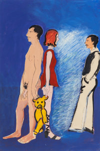 Joan Brown (1938-1990) Mary Julia and David #3, 1976 Acrylic on paper 36 x 24 inches (91.4 x 61 c