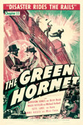 """Movie Posters:Serial, The Green Hornet (Universal, 1940). One Sheet (27"""" X 41""""). Chapter11 -- """"Disaster Rides the Rails."""". ..."""
