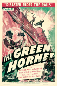 "The Green Hornet (Universal, 1940). One Sheet (27"" X 41""). Chapter 11 -- ""Disaster Rides the Rails.""..."