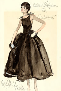 """Sabrina by Edith Head (c.1970s). Autographed Original Watercolor Painting on Watercolor Paper (12"""" X 17.65"""")..."""