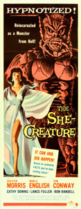 "Movie Posters:Science Fiction, The She-Creature (American International, 1956). Insert (14"" X 36"")Albert Kallis Artwork.. ..."