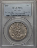 Seated Half Dollars, 1854 50C Arrows MS63 PCGS. WB-101....
