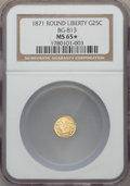 California Fractional Gold , 1871 25C Liberty Round 25 Cents, BG-813, R.3, MS65 ★ NGC. NGCCensus: (5/0). PCGS Populat...