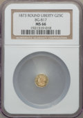 California Fractional Gold , 1873 25C Liberty Round 25 Cents, BG-817, R.3, MS66 NGC. NGC Census:(7/1). PCGS Population: (6/0). ...