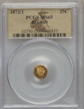 California Fractional Gold , 1872/1 25C Indian Round 25 Cents, BG-869, Low R.4, MS65 PCGS. PCGSPopulation: (13/2). NGC Census: (7/0)....