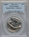 Errors, Mated Error Pair of Quarters PCGS. Coin #1 is 2000-P MS64 PCGS. Coin #2 is Undated MS65 PCGS.... (Total: 2 coins)