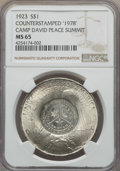 """Counterstamps, 1923 $1 Peace Dollar -- Counterstamped """"1978"""" Camp David Peace Summit -- MS65 NGC...."""