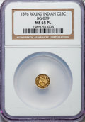 California Fractional Gold , 1876 25C Indian Round 25 Cents, BG-879, R.4, MS65 Prooflike NGC.NGC Census: (7/1). ...