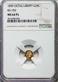 California Fractional Gold , 1859 25C Liberty Octagonal 25 Cents, BG-702, R.3, MS64 ProoflikeNGC. NGC Census: (2/3). ...