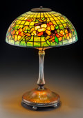 Art Glass:Tiffany , Tiffany Studios Leaded Glass and Bronze Pansy Table Lamp. OnMushroom base.. Circa 1910. Stamped TIFFANY STU...