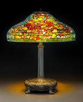 Art Glass:Tiffany , Tiffany Studios Leaded Glass and Bronze Nasturtium TableLamp. Circa 1910. Stamped TIFFANY STUDIOS, NEW YORK, 15... (Total:3 Items)