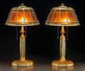 Art Glass:Tiffany , Pair of Tiffany Studios Linenfold Favrile Glass and GiltBronze Abalone Desk Lamps. Circa 1920. Base... (Total: 4Items)