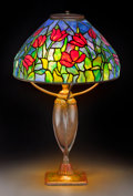 Art Glass:Tiffany , Tiffany Studios Leaded Glass and Bronze Blue Tulip Table Lamp. Circa 1905-1910. Stamped TIFFANY STUDIOS NEW YORK...