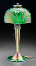 Art Glass:Tiffany , Tiffany Studios Intaglio Green Favrile Glass Daffodils DeskLamp. Circa 1916. Engraved L.C. Tiffany-Favrile, 5... (Total: 2Items)
