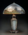 Art Glass:Other , Handel Reverse Painted and Patinated Metal John Bailey NightSeascape Table Lamp. Circa 1910. Painted and stampe...