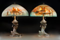 Art Glass:Other , Pair of Handel Reverse Painted and Bronzed Metal John BaileyVenetian Trade Table Lamps. With Mermaid-form bases...(Total: 4 Items)