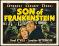 "Movie Posters:Horror, Son of Frankenstein (Universal, 1939). Title Lobby Card (11"" X 14"").. ..."
