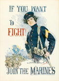 "Movie Posters:War, World War I ""Christy Girl"" Recruiting Poster (U.S. Marines, 1915).Howard Chandler Christy Poster (29"" X 39.5""). ""If You Wan..."