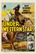 "Movie Posters:Western, Under Western Stars (Republic, 1938). One Sheet (27"" X 41"") Style B.. ..."