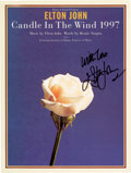 "Music Memorabilia:Autographs and Signed Items, Elton John Signed ""Candle in the Wind 1997"" Sheet Music...."