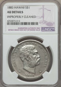 Coins of Hawaii , 1883 $1 Hawaii Dollar -- Improperly Cleaned -- NGC Details. AU. NGCCensus: (32/196). PCGS Population: (70/218). Mintage 4...