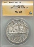 Expositions and Fairs, 1933 Century of Progress Colorado So-Called Dollar MS62 ANACS.HK-870, R.3. Silver....