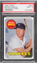 Baseball Cards:Singles (1960-1969), 1969 Topps Mickey Mantle (Yellow Letters) #500 PSA Mint 9. ...