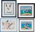 Baseball Collectibles:Others, 1992 & 1997 Looney Tunes Signed Prints Lot of 4 from The GaryCarter Collection....
