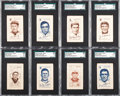 Baseball Cards:Lots, 1909 S74 Silks - White Turkey Red SGC Graded Collection (14). ...