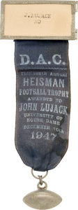 Football Collectibles:Others, 1947 Johnny Lujack Heisman Trophy Banquet Badge. ...