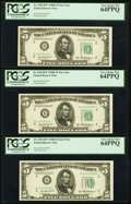 Small Size:Federal Reserve Notes, Fr. 1963-B* $5 1950B Federal Reserve Notes. Three Consecutive Examples. PCGS Very Choice New 64PPQ.. ... (Total: 3 notes)