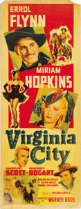 "Movie Posters:Western, Virginia City (Warner Brothers, 1940). Insert (14"" X 36""). ..."