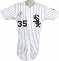 Autographs:Jerseys, 1994 Frank Thomas Signed Team Issued Jersey. This team-issued white home pinstripe comes from the Chicago White Sox. Recen...