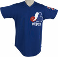 Baseball Collectibles:Uniforms, Early 1980s Montreal Expos Batting Practice Worn Jersey. Beautifulblue Wilson batting practice jersey includes the Expos l...