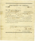 Autographs:Military Figures, Texas Army Bounty Land Certificate Signed...