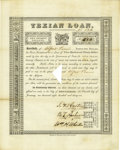 Autographs:Statesmen, First Texian Loan Signed by Stephen F. Austin, Branch T. Archer, and William H. Wharton...