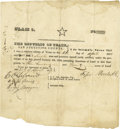 Autographs:Statesmen, Texas Third Class Head Right Grant of Land San Augustine County...