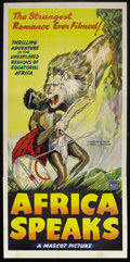 "Movie Posters:Documentary, Africa Speaks! (Mascot, 1930). Three Sheet (41"" X 81""). Documentary. Starring Paul L. Hoefler, Lowell Thomas. Directed by Wa..."