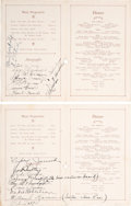 Baseball Collectibles:Others, 1924 Baseball World Tour Team Signed Ship's Menus Lot of 2....